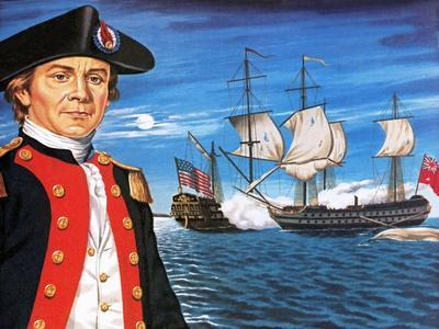 John Paul Jones, with His Ship Flying the Flag of the Rebellious Colonists of North America