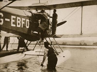 Alan Cobham Climbing into His Plane before Setting Off for Australia, Rochester, 1926