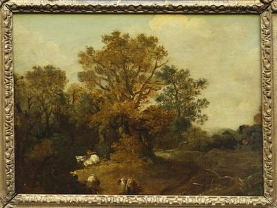 A Wooded Landscape with Faggot Gatherers by a Path, a White Horse Tethered Beyond