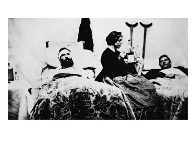 Nurse Attending Wounded Soldiers in Hospital, Nashville, Tennessee