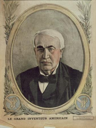 Cover Illustration of 'Le Petit Journal' Depicting Thomas Alva Edison, 1917