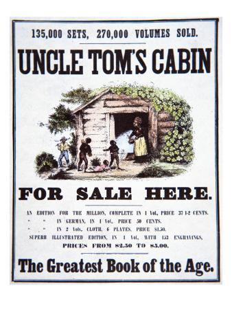 Poster Advertising 'Uncle Tom's Cabin' by Harriet Beecher Stowe