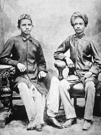 Mahatma Gandhi in Rajkot with School Friend Sheikh Mehtab, Rajkot, 1883