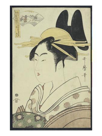 A Okubi-E Portrait of a Courtesan Representing the Hagi or Noki River