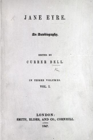 Title Page to the First Edition of 'Jane Eyre' by Charlotte Bronte, 1847