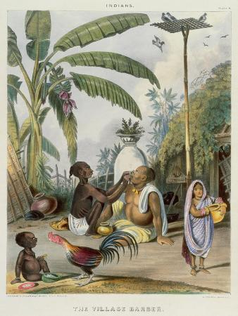 The Village Barber, Plate 6 from 'Indians', Engraved by J. Bouvier, 1842