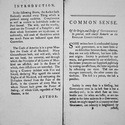 Introduction and First Page of 'Common Sense' by Thomas Paine, 1776