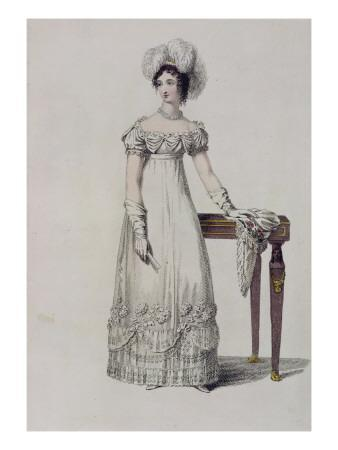 Evening Dress, Fashion Plate from Ackermann's Repository of Arts