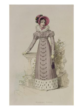 Walking Dress, Fashion Plate from Ackermann's Repository of Arts