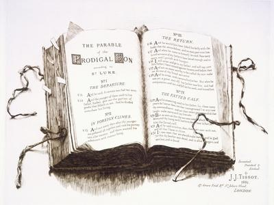 A Bible Open at the Parable of the Prodigal Son, 1881 9Etching)