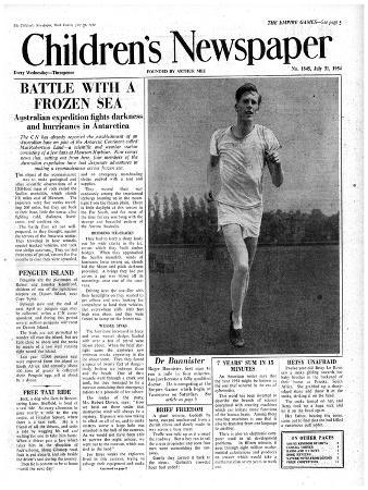Roger Bannister, Front Page of 'The Children's Newspaper', 1954