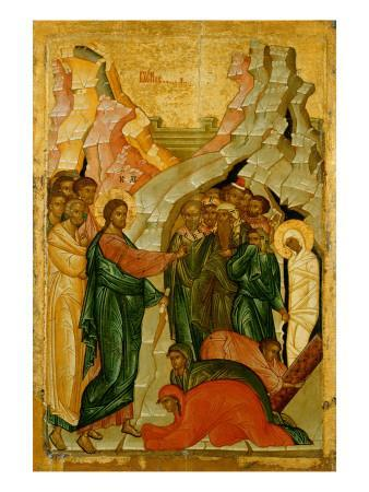 The Raising of Lazarus, Russian Icon, Novgorod School, 15th Century