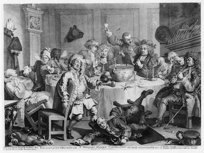 A Midnight Modern Conversation, from 'The Works of William Hogarth', 1733