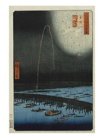 Fireworks at Ryogoku, from the Series 'One Hundred Famous Views of Edo'