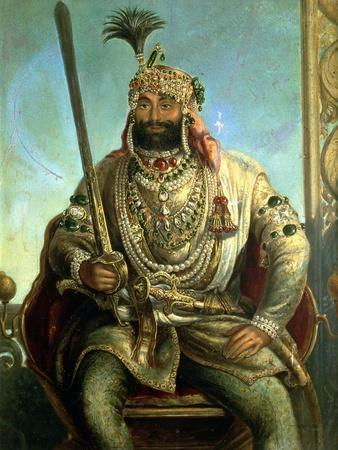 Portrait of Maharaja Sher Singh, in Regal Dress, C.1850