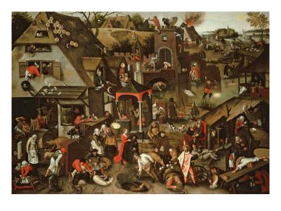 Netherlandish Proverbs Illustrated in a Village Landscape