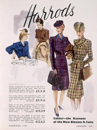 Advertisement for Women's Blouses and Suits at Harrods, 1945
