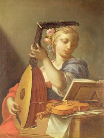Personification of Music: a Young Woman Playing a Lute