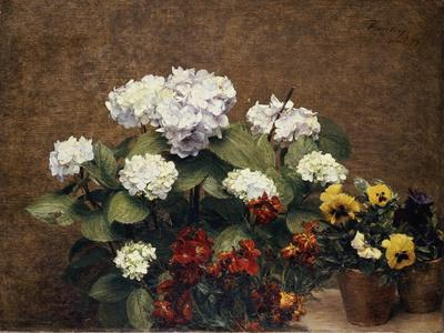 Hortensias and Stocks with Two Pots of Pansies, 1879