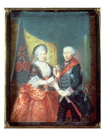 King Frederick Ii and His Wife, Elizabeth Christine, 1758