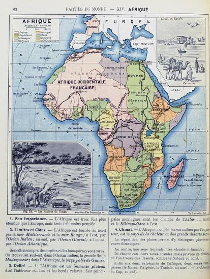 Map Of Colonial Africa From A School Book Published In 1911 Giclee
