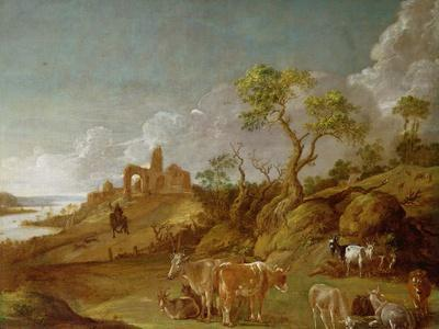 Extensive Hilly Landscape with Cattle, Sheep and Goats