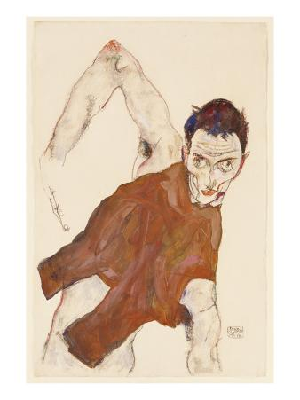 Self Portrait in a Jerkin with Right Elbow Raised, 1914