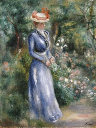 Woman in a Blue Dress Standing in the Garden at Saint-Cloud