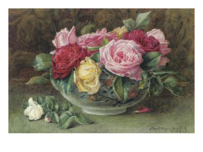 Still Life with a Bowl of Pink, Yellow and Red Roses, 1883