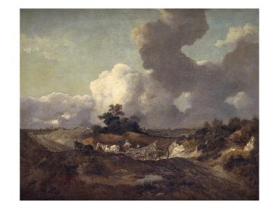 An Open Landscape in Suffolk with a Waggon on a Track