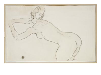 Female Nude Kneeling and Bending Forward to the Left, 1918