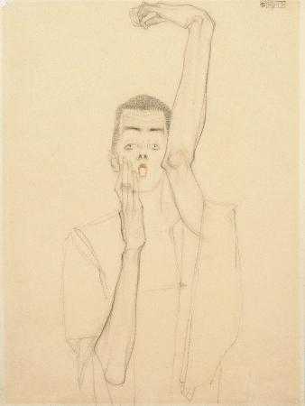 Self Portrait with a Raised Arm and Red Mouth, 1909