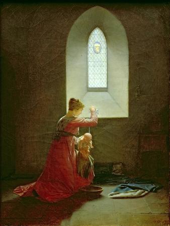 Genevieve of Brabant Baptising Her Son in Prison