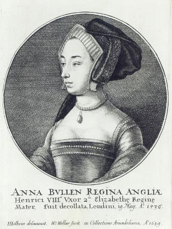 Anne Boleyn, Etched by Wenceslaus Hollar, 1649