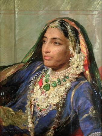 Portrait of Rani Jindan Singh, in an Indian Sari