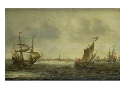 A Galley Frigate and Other Shipping Off Amsterdam