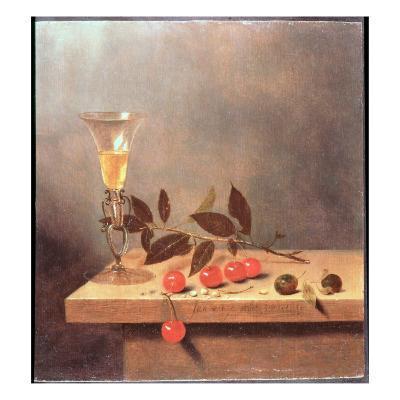 Facon De Venise Wine Glass and Cherries on a Ledge