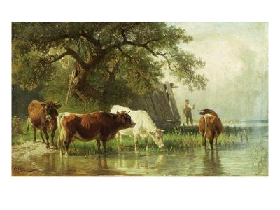 Cattle Watering in a River Landscape, 19th Century