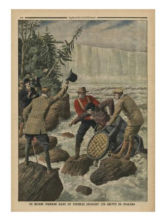 A Man in a Barrel Crossing the Niagara Falls