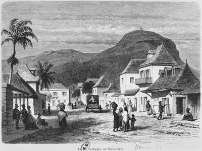 View of Port Louis, Rue Desforges, Mauritius, 1861