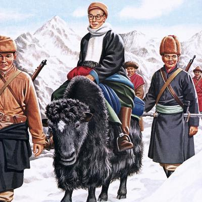 The Young Dalai Lama Fleeing the Chinese