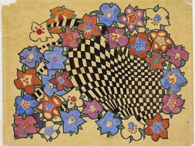 Floral and Chequered Fabric Design, C.1916
