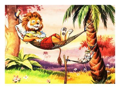 Leo the Friendly Lion Relaxing in a Hammock