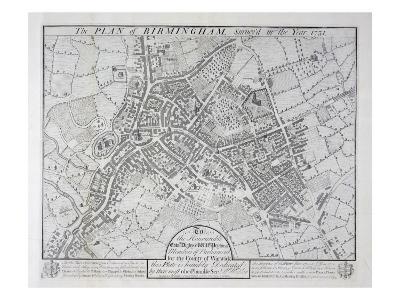 Plan of Birmingham, 1731, Published 1789