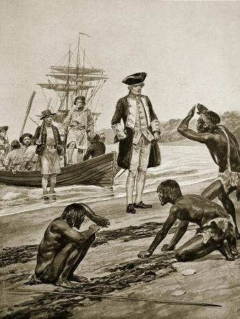 Captain Cook Landing in Tasmania, 1777