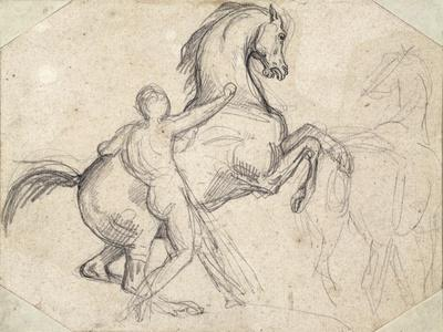 Rearing Stallion Held by a Nude Man