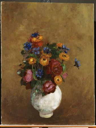 Bouquet of Flowers in a White Vase