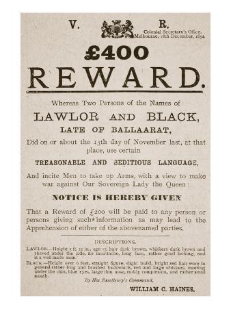 Australian Reward Poster, 1854