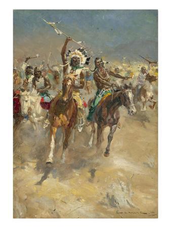 Charging Indians on Horseback