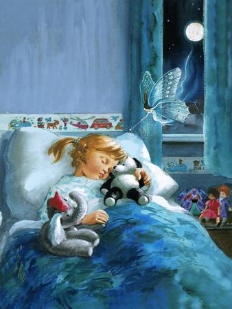 Girl in Bed Attended by Fairy